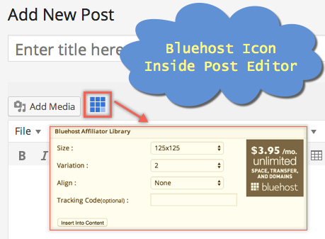 Bluehost Affiliate icon in WordPress Post Editor
