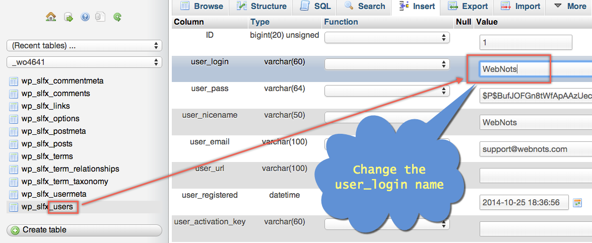 Change WordPress Username in Database