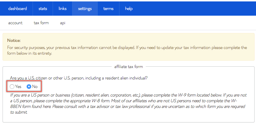 Choose Tax Form in Bluehost Affiliate Program