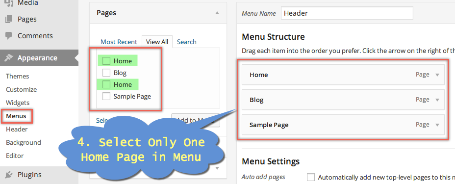 Create Menu with Home Page