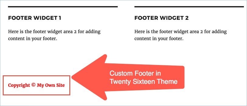 Custom Footer in Twenty Sixteen Theme