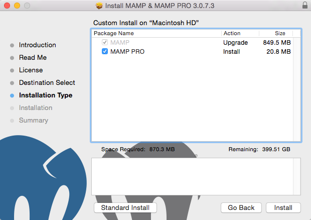 Deselect MAMP Pro Installation