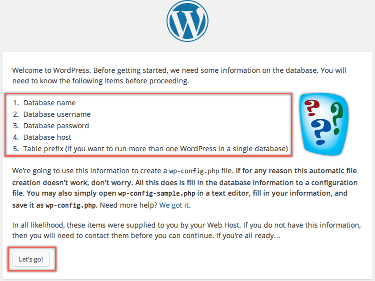 Details Required Before Installing WordPress