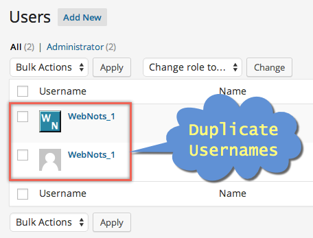 Duplicate Usernames in WordPress