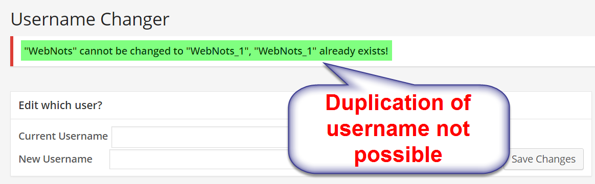 Duplication of WordPress Username Not Allowed