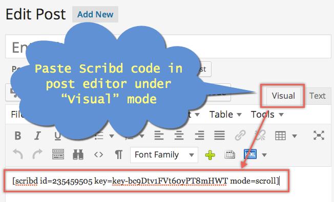 Embed Scribd Document in WordPress Editor