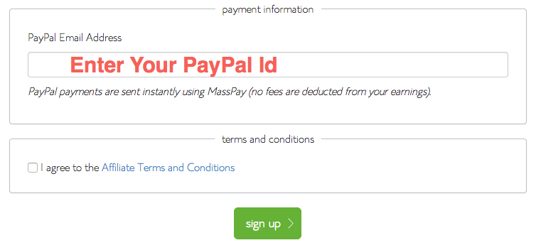 Enter PayPal Id for Bluehost Affiliate Payment