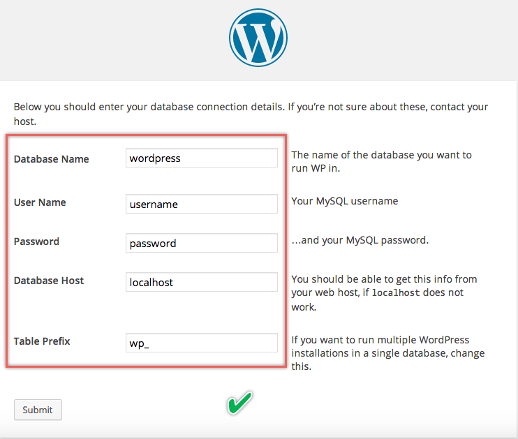 Entering Database Details During WordPress Installaion