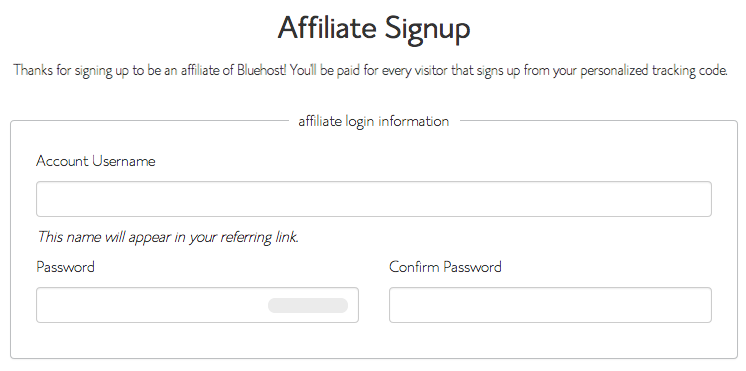 Fill Bluehost Affiliate Signup Form