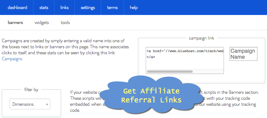 Get Bluehost Affiliate Referral Links