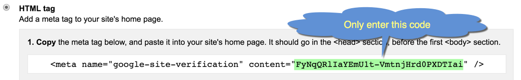 Google HTML Tag for Site Verification