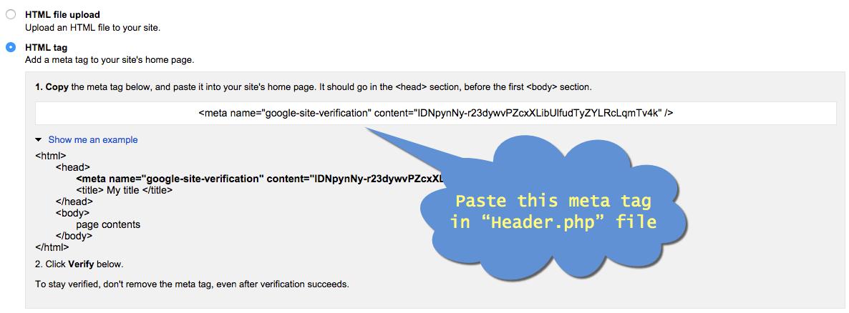HTML Tag Verification Method for WordPress Site