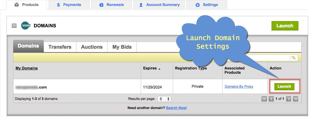 Запустить настройки домена в Godaddy