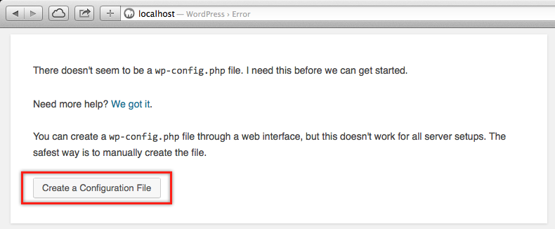 Local Host Error for Missing WP Config PHP File