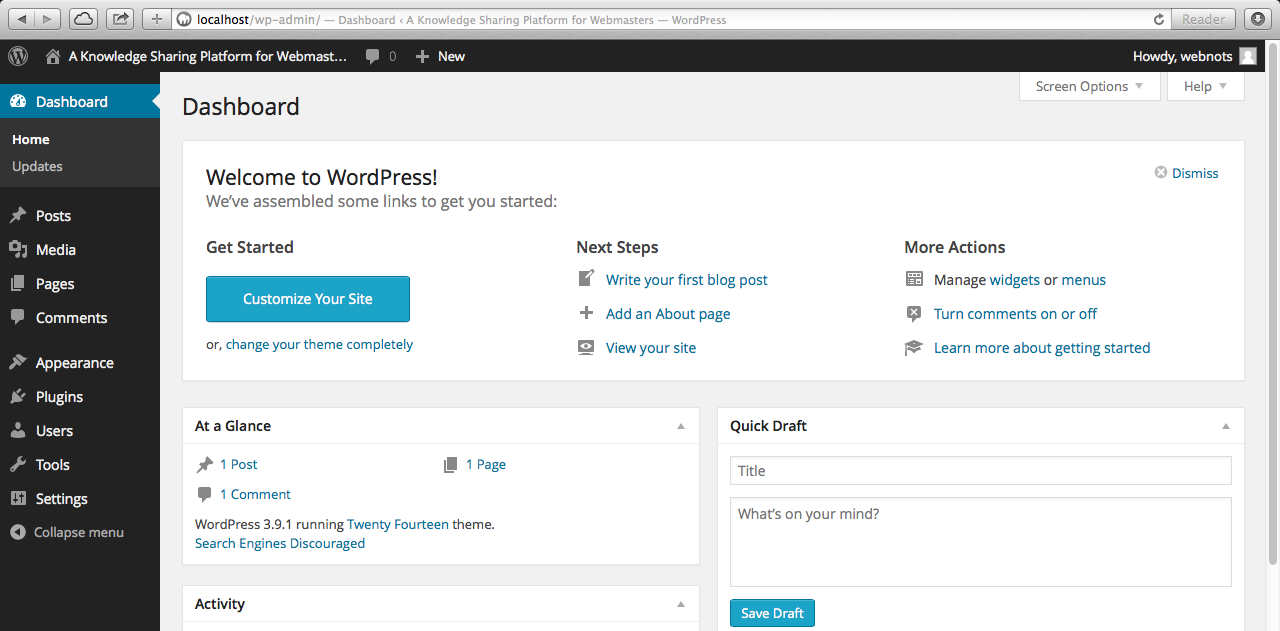 Self-hosted WordPress Site Admin Interface Screen