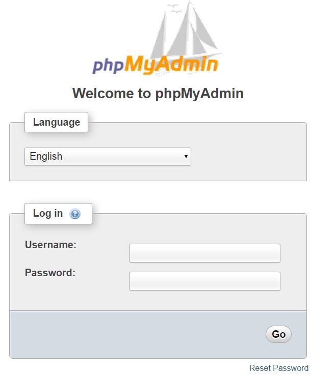 Login to phpMyAdmin