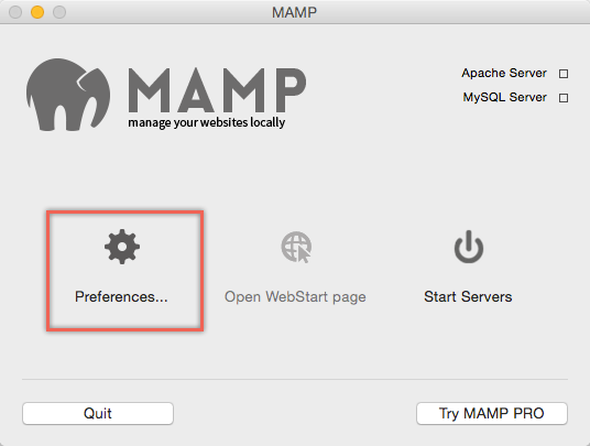 MAMP Preferences Settings