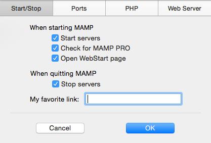 MAMP Server Start Stop Settings