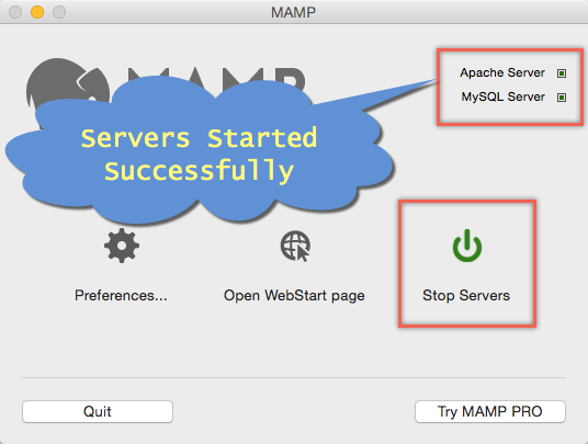 MAMP Servers Started Successfully