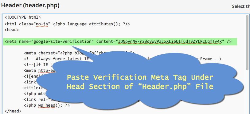 Modify Header.php File to Ad Google Verification Code