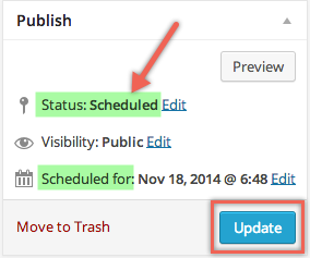 Post Scheduled in WordPress