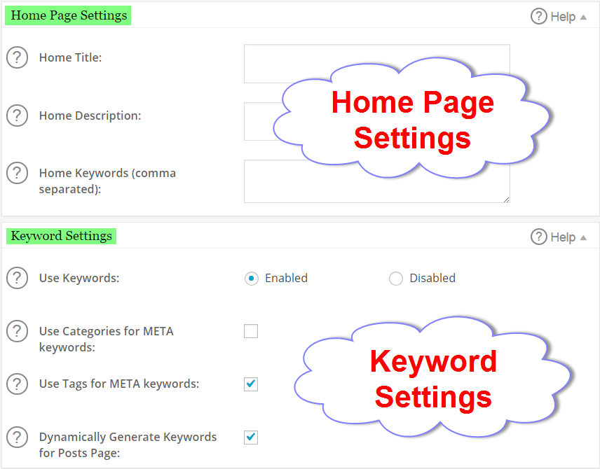 SEO Settings for Home Page and Keywords