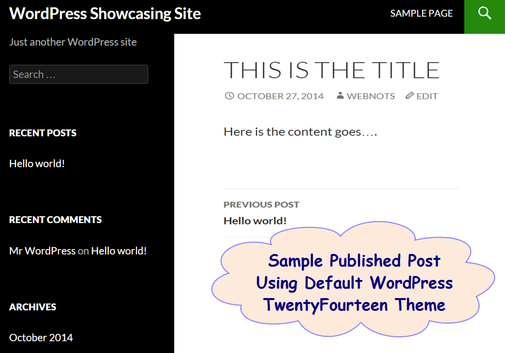 Sample Published WordPress Post