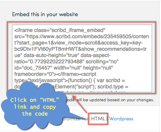 Scribd HTML iFrame Embed Code