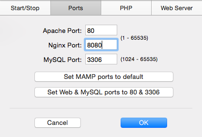 Set Ports for MAMP Local Server