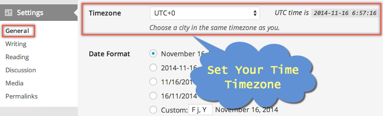 Set Timezone in WordPress