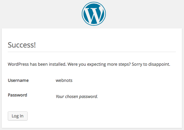 Successful WordPress Installation