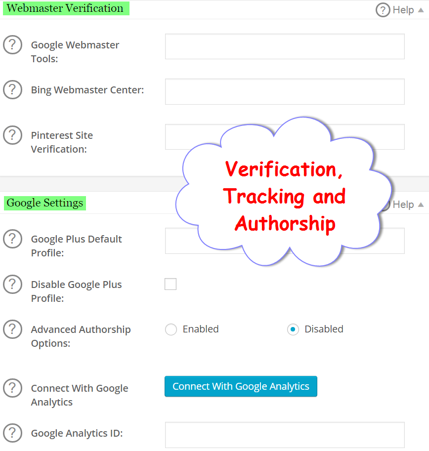 Verification, Analytics Tracking and Google Authorship