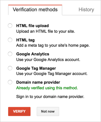 Verification Options in Google Search Console