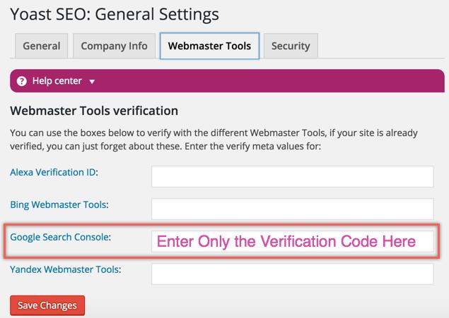 Verifing Google Search Console Ownership using Yoast SEO Plugin