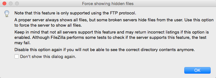 Warning When Force Showing Hidden Files in FileZilla