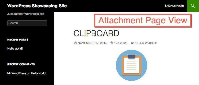 WordPress Attachment Page View