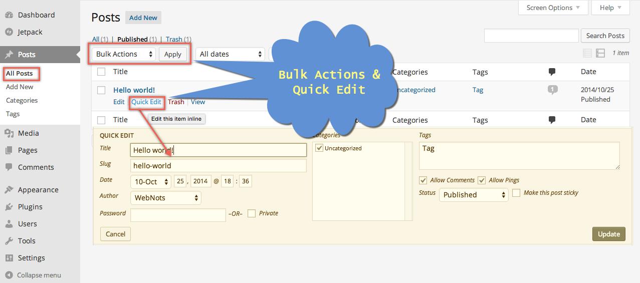 WordPress Post Quick Edit and Bulk Actions