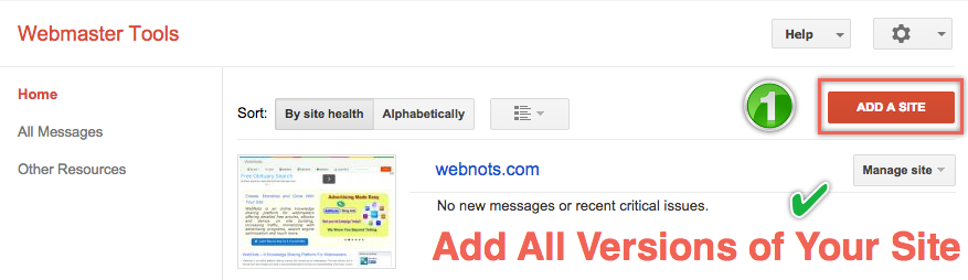 Add All Version of Your Site