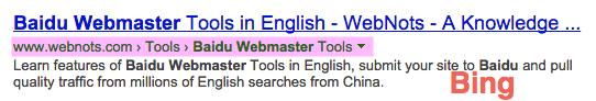 Breadcrumb Showing in Bing Search