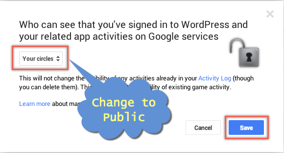 Change Visibility to Public in Google+