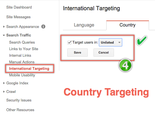 Country Targeting in Google Webmaster Tools