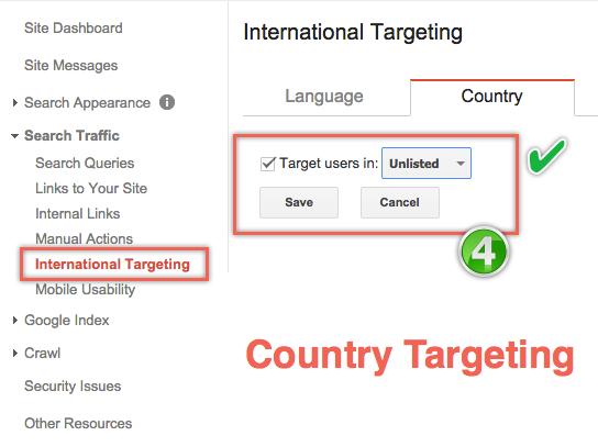 Ориентация на страну в Инструментах Google для веб-мастеров