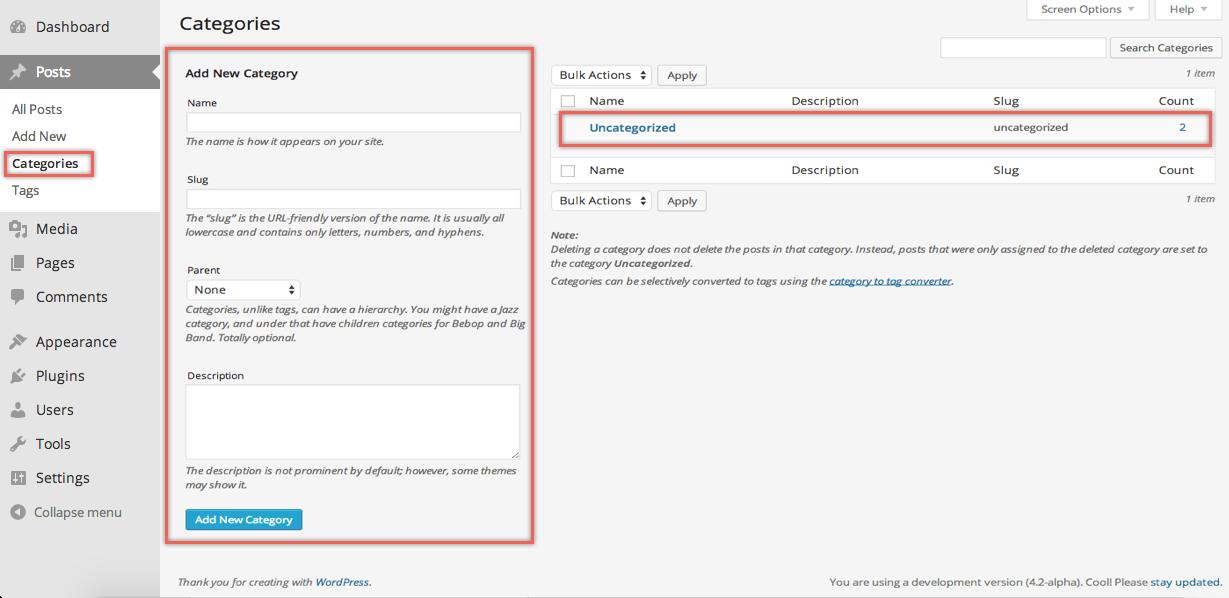 Creating Category in WordPress