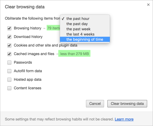 Deleting Browser History in Chrome