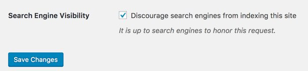 Disable Search Engines in WordPress