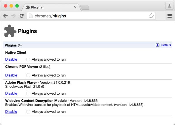 Disabling Chrome Plugins