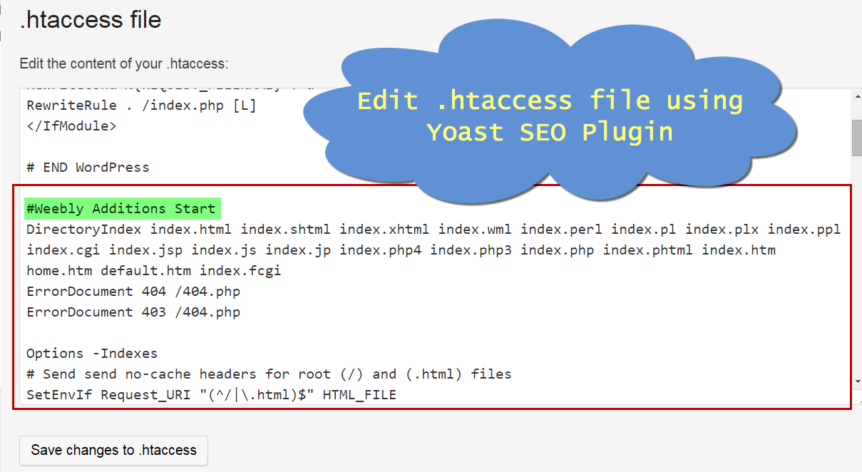 Editing .htaccess File using Yoast WordPress SEO Plugin