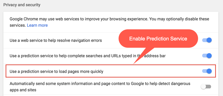 Enable Prediction Service in Chrome