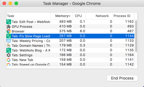 End High Memory Processes in Chrome