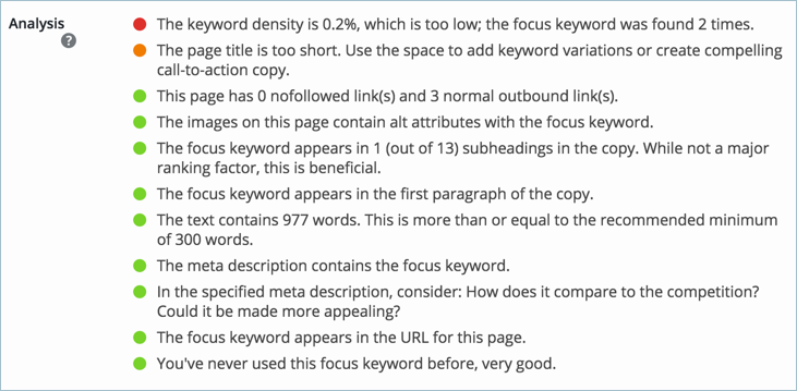 Keyword Analysis with Yoast SEO Plugin